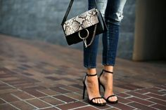 Pair your skinny jeans with a simple high heel ankle strap sandal in the summer. Comfortable and pretty. Via Erica HoidaJeans: Shoes: Saint Laurent, Bag: Chloe Ankle Straps, Ankle Strap Sandals, Donald Trump, Faye Bag, Chloe Fashion, Autumn Fashion, Jeans With Heels, Kinds Of Shoes, Fashion Heels