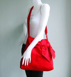 Red Cotton Twill Bag  Ninny by tippythai on Etsy, $39.00