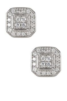 Sterling Silver Quad Round Cut White Diamond Earrings - 0.38 ctw