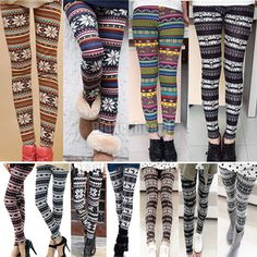 Fashion Womens Colorful Pattern Retro Knitted Leggings Tights Pants | eBay