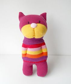 cat, kitten, sock animal, sock creature, plush animal, soft sculpture, pink…