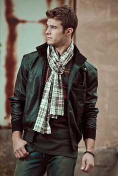 Leather and plaid scarf.