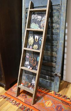 Handmade Ladder Jewelry Display, Primitive, Unique Jewelry Display, Accessories Storage, Earring Display, Ring Holder, Ladder Shelf. $38.00, via Etsy.