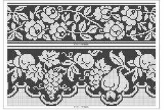 Filet Crochet rose and fruit border