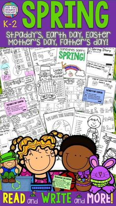 Fun #Spring printable reading and writing activities K-2! Earth day, Easter, Mothers Day, Father's Day, St. Patrick's Day! $