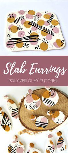 Polymer clay slab earrings tutorial#clay #earrings #polymer #slab #tutorial Polymer Clay Projects, Polymer Clay Beads, Polymer Clay Tutorials, Polymer Clay Halloween, Polymer Clay Ornaments, Cute Polymer Clay, Fimo Clay, Art Tutorials, Diy Fimo