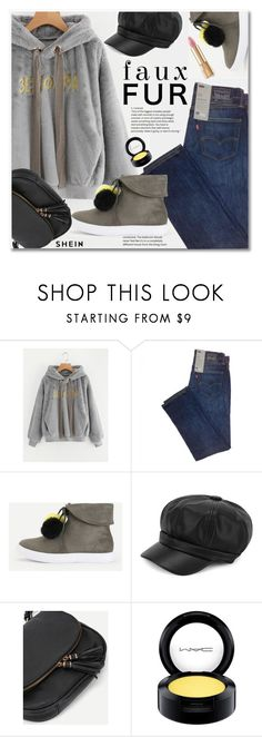 """""""Wow Factor: Faux Fur"""" by svijetlana ❤ liked on Polyvore featuring MAC Cosmetics, Dolce&Gabbana, fauxfur and shein"""
