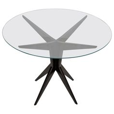 Italian Glass Top Round Occasional Table | From a unique collection of antique and modern side tables at https://www.1stdibs.com/furniture/tables/side-tables/