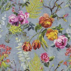 tulipani - graphite wallpaper | Designers Guild