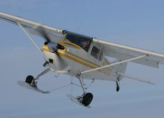 Cessna 170 with 180 hp prepared for snow landing