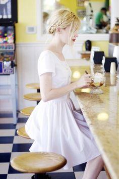 White dress & heidi hair
