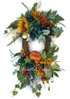 Fall and Autumn Wreaths, Fall and Autumn Centerpieces by MeriMeshDesigns Owl Wreaths, Sunflower Wreaths, Autumn Wreaths, Wreath Fall, Door Wreath, Wreath Ideas, Grapevine Wreath, Thanksgiving Wreaths, Christmas Wreaths