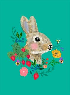 I like the bee looking at the rabbit. Just cute...