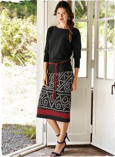 Blending traditional shibori patterning with a contemporary palette, our pima jacquard skirt has a slight A-line shape. Please note: skirt is charcoal-hued, not black. Urban Dresses, Nice Dresses, Prom Dresses, Formal Dresses, Kurta Designs, Blouse Designs, Western Outfits, Indian Outfits, Cotton Skirt