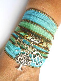Tree of life Wrap silk bracelet,Star of David Chai charm,Judaica jewelry,Hamsa jewelry,Judaica bracelet,Birthday gift for her under 30