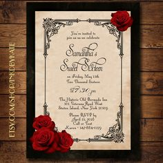 Vintage Black and Red Romantic Rose Quinceanera or by inkdbykate