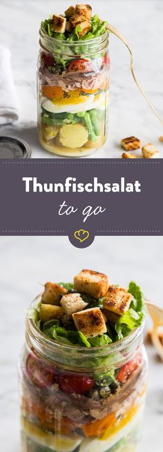 Salat Nicoise – Französischer Thunfischsalat to go - Mittagspause Healthy Potato Recipes, Healthy Salad Recipes, Healthy Food, Food To Go, Food And Drink, Salat Nicoise, Benefits Of Potatoes, Salads To Go, Lunch To Go