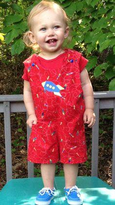 24 months or 2T Short Overalls or sunsuit with rocket ship embroidered on front - pinned by pin4etsy.com