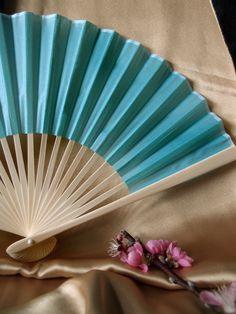 water blue silk folding fan