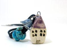 Ceramic jewelry House pendant necklace