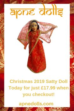 This is Satty, a Punjabi Indian fashion doll from the UK. She wears the traditional red and gold wedding lengha, her head covered with a duputta or chooni, buy your new doll at Boxing Day Sale price before Christmas 2019 when you checkout today! Wedding Doll, Sikh Wedding, Punjabi Wedding, Gold Wedding, Punjabi Fashion, Indian Fashion, Indian Dolls, Unique Toys, New Dolls