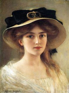 """Portrait of a young girl (Straw hat with black ribbon). Albert Lynch (Peruvian, Belle Époque, Oil on canvas. """"The countenance is the portrait of the soul, and the eyes mark its. Vintage Art, Vintage Ladies, Victorian Paintings, Victorian Artwork, Victorian Tattoo, Victorian Portraits, Pierre Auguste Renoir, Victorian Women, Victorian Goth"""
