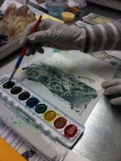Painting water color over wax resist in Encaustic + Paper workshop at Wax Works West studio.