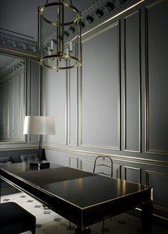 metal inlay walls by Joseph Dirand - Grey Walls. Gold. Black Table. -Backdrop