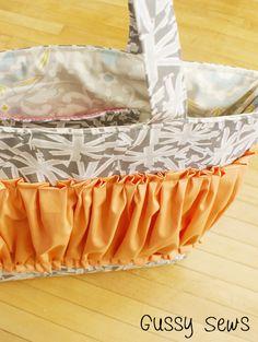 gray stripes tote/diaper bag by gussy sews