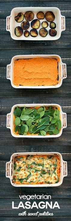 Sweet Potato Vegetarian Lasagna - Sweet potato mix, Eggplant, spinach topped with mozzarella and parmesan cheese. Easy, healthy and delicious! Veggie Dishes, Veggie Recipes, Whole Food Recipes, Vegetarian Recipes, Healthy Recipes, Vegetarian Sweets, Free Recipes, Think Food, I Love Food