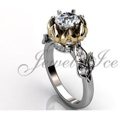 Lotus Flower Engagement Ring 14k white yellow gold diamond unique lotus flower engagement ring, wedding ring, anniversary ring ER-1106-4 featuring polyvore, women's fashion, jewelry, rings, gold wedding rings, 14k diamond ring, yellow gold diamond ring, gold diamond rings and diamond anniversary rings