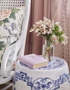 30e276f1316 Vignette   Interior Styling   Baby Girl Nursery   Cane Rocker   Greek Key  Trim   Blue and White   Lauren Elaine Interiors