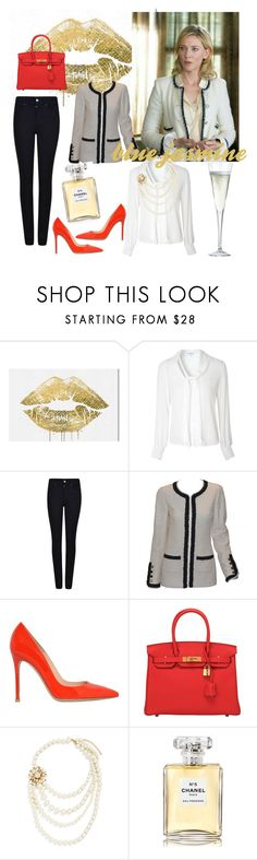 """""""movie style...cate in blue jasmine"""" by nerma1211 ❤ liked on Polyvore featuring Oliver Gal Artist Co., Glamorous, Armani Jeans, Chanel, Gianvito Rossi, Hermès and CB2"""