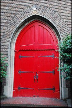 Red door church door