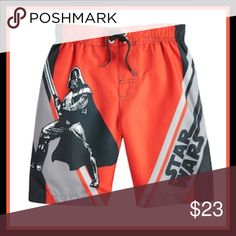 "Disney Star Wars Darth Vader Swim Trunks He'll get bold Star Wars fashion in these boys' Darth Vader swim trunks. In red.  PRODUCT FEATURES:      Elastic waistband     Fixed drawstring     Darth Vader graphic with ""Star Wars"" caption     UPF 50+ sun protection  FABRIC & CARE:      Polyester     Machine wash Disney Swim Swim Trunks"