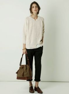 layered sweater / rolled pants / oxfords / slouchy