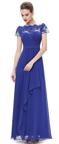 In Stock Unique Chiffon Bateau Neckline Short Sleeves A-line Evening Dresses With Lace Appliques