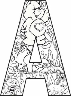 Coloring Letters, Preschool Coloring Pages, Pattern Coloring Pages, Alphabet Coloring Pages, Disney Coloring Pages, Coloring Book Pages, Printable Coloring Pages, Disney Alphabet, Alphabet Print