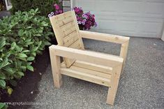 DIY Modern Rustic Outdoor Chair plans using outdoor cushions from Target.