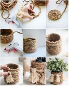 Creative DIY craft ideas with natural cord that refine every interior! - DIY A . - Creative DIY craft ideas with natural cord that refine every interior! – DIY storage basket do it - Diy Para A Casa, Diy Casa, Rope Crafts, Diy Home Crafts, Home Craft Ideas, Diy Decorations For Home, Twine Crafts, Decor Crafts, Adult Crafts