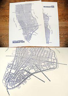 Typographic map og Manhattan