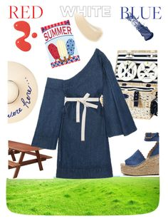 """""""4th of July picnic"""" by ellenfischerbeauty ❤ liked on Polyvore featuring Bobbi Brown Cosmetics, Ilia, Les Jardins de la Comtesse, Eugenia Kim, DutchCrafters, Chloé, Marni, HowToWear, summerfun and forthofjuly"""