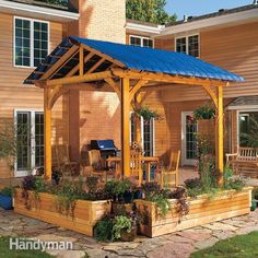You don't have to let the blazing sun or drippy weather drive you indoors. This simple covered pergola will keep you comfortable long after your neighbor