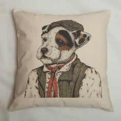 Exclusive Jack Russell Illustrated Cat Portrait Cushion by Amber Anderson for Kitty Greenway