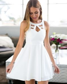 Discount Great Homecoming Dresses White, A-Line Jewel Short White Satin Homecoming Dress With Lace White Homecoming Dresses, Hoco Dresses, Junior Dresses, Tight Dresses, Sexy Dresses, Dress Prom, Fitted Dresses, Skater Dress, Casual Dresses