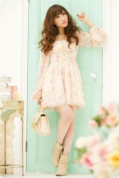 Liz Lisa floral dress with boots<3 but I wish the skirt was longer