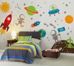 Aliens wall decal, Rocket ship, space ,Boy, Star, Planets,Children, Boy wall decals wall sticker - 56