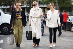 30 Brilliant Street Style Moments From 2016 #refinery29  http://www.refinery29.com/2016/12/133987/best-street-style-2016#slide-2  When the whole squad is looking fresh. Alex Carl, Camille Charrière, and Pernille Teisbaek head to the Loewe spring 2017 show....