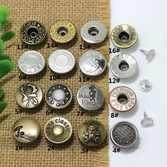 Click Our Letters Rivets Gallery to See More Style and Color . Jeans Button, Make Color, Metal Buttons, 9 And 10, Shake, Giant Tree, Vip, Denim, Metals