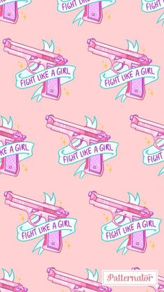 background, beautiful, girl, gun, pink